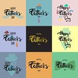 Las tarjetas de felicitación felices de la caligrafía de las letras del día de padre fijaron con el sombrero, bigote, corbata de  libre illustration