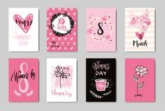 Las tarjetas de felicitación lindas del garabato del 8 de marzo feliz fijaron concepto rosado del día de la mujer del diseño del  stock de ilustración