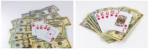 Las tarjetas de juego del dinero aislaron el collage Fotos de archivo