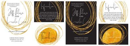 Las tarjetas de la invitación de la boda con la mano de oro dibujada texturizan la línea vector del fondo y del oro del diseño
