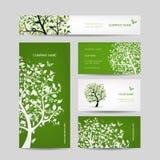 Las tarjetas de visita diseñan, saltan árbol con los pájaros Imagen de archivo libre de regalías