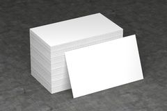Las tarjetas de visita esconden la maqueta - plantilla, ejemplo 3D Imagenes de archivo