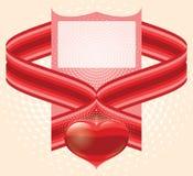 Las tarjetas del día de San Valentín adornan con el corazón rojo del amor Imagenes de archivo