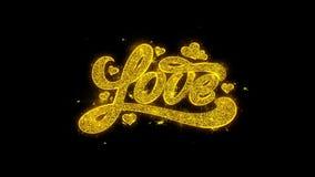 Las tarjetas del día de San Valentín aman la tipografía escrita con las partículas de oro chispean los fuegos artificiales libre illustration