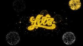 Las tarjetas del día de San Valentín aman partículas de oro del centelleo del texto con la exhibición de oro de los fuegos artifi ilustración del vector