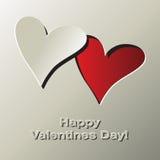 Las tarjetas del día de San Valentín cardan con dos corazones y colocan para su texto Imagen de archivo libre de regalías