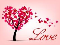 Las tarjetas del día de San Valentín cardan con el árbol del corazón Foto de archivo