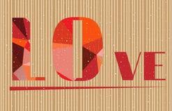 Las tarjetas del día de San Valentín cardan con el amor del texto - formado por el rojo Foto de archivo