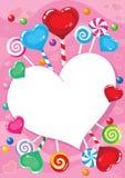 Las tarjetas del día de San Valentín cardan con el caramelo Foto de archivo libre de regalías