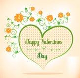 Las tarjetas del día de San Valentín cardan con el corazón verde, anaranjado Foto de archivo