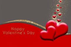 Las tarjetas del día de San Valentín cardan con los corazones en fondo gris, rojo, de oro del brillo Foto de archivo libre de regalías