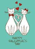Las tarjetas del día de San Valentín cardan con los gatos queridos Imagenes de archivo