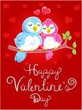 Las tarjetas del día de San Valentín cardan con los pájaros del amor Foto de archivo libre de regalías