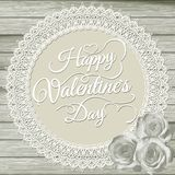 Las tarjetas del día de San Valentín cardan en fondo beige EPS 10 Imagen de archivo libre de regalías
