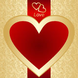 Las tarjetas del día de San Valentín cardan o una escritura de la etiqueta en un fondo del oro. Imágenes de archivo libres de regalías