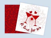 Las tarjetas del día de San Valentín Daytwo echaron a un lado aviador stock de ilustración