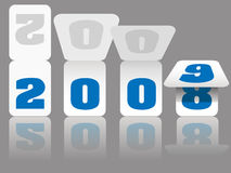 Las tarjetas del número del calendario del Año Nuevo dan vuelta a 2008 a 2009 Foto de archivo libre de regalías