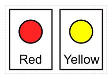 Las tarjetas flash del color para los niños aprenden sobre colores y sus nombres con estos imprimibles simples ilustración del vector