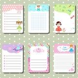 Las tarjetas lindas, notas con tema de la princesa diseñan Fotografía de archivo