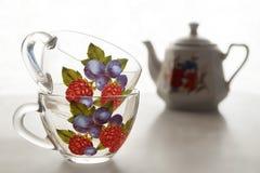Las tazas de té se cierran para arriba Imagen de archivo libre de regalías