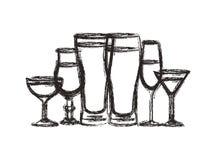 Las tazas y los vidrios fijaron iconos libre illustration