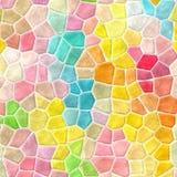 Las tejas de mosaico pedregosas abstractas texturizan el fondo con la lechada blanca - colores en colores pastel frescos vivos Imagen de archivo libre de regalías