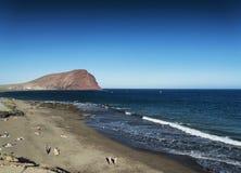 Las tejitas beach and montana roja in south tenerife spain Stock Image