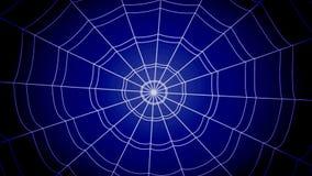 Las telarañas concéntricas blancas saltan agudamente y se pegan en un fondo azul almacen de video