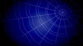 Las telarañas concéntricas blancas saltan agudamente y se pegan en un fondo azul metrajes