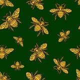 Las telas de materia textil inconsútiles del modelo del bordado de oro de la abeja de Hohey adornaron vector dibujado mano de oro libre illustration