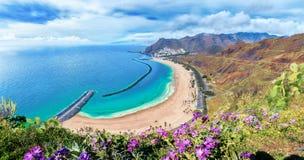 Las teresitas sätter på land, Tenerife, kanariefågelöar, Spanien arkivfoto