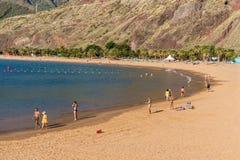 Las-teresitas setzen, Teneriffa, Kanarische Inseln, Spanien auf den Strand Stockfotografie