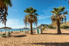 Las-teresitas setzen, Teneriffa, Kanarische Inseln, Spanien auf den Strand Stockbild