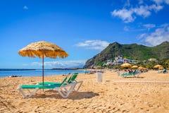 Las Teresitas, Tenerife, kanariefågelöar, Spanien: Las Teresitas strand arkivfoton