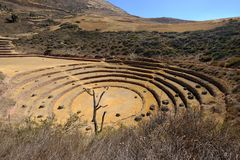 Las terrazas agrícolas Incan en el Moray fotos de archivo