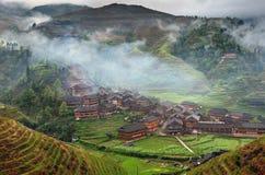 Las terrazas del arroz de la ladera, arroz colocan en las montañas de Asia. Foto de archivo