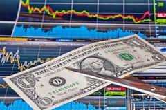 Las tijeras cortan el billete de banco del uno-dólar de los E.E.U.U., carta financiera imágenes de archivo libres de regalías