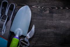 Las tijeras de podar agudas de los guantes protectores dan la espada en el tablero de madera Foto de archivo libre de regalías