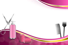 Las tijeras rojas del bigudí de la peluquería del fondo de las herramientas rosadas abstractas del peluquero cepillan el ejemplo  Fotografía de archivo libre de regalías