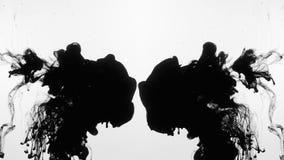 Las tintas negras chocan las pinturas del movimiento del líquido del agua inyectan almacen de metraje de vídeo