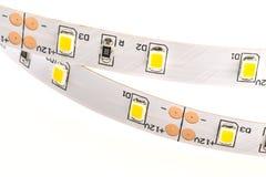 Las tiras blancas del LED sin la protección del silicón hicieron microprocesadores de un SMD 3 Fotografía de archivo