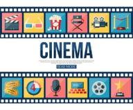 Las tiras de la película y los iconos del cine fijaron para el infographics Foto de archivo