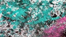 Las tonalidades fangosas rosadas oscuras verdes, puntos ponen en contraste el fondo de pintura de la acuarela, acrílico de la acu fotografía de archivo