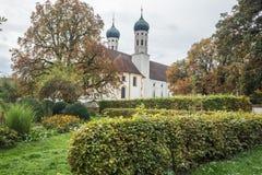 Las torres de la abadía de Benediktbeuern Imagen de archivo libre de regalías