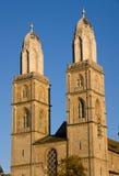 Las torres del Grossmunster Imágenes de archivo libres de regalías