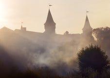 Las torres están en niebla Imagen de archivo