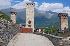 Las torres famosas de Svaneti fotos de archivo libres de regalías