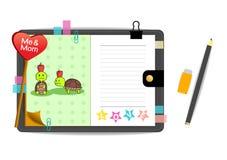 Las tortugas yo y de la mamá con amor ponen verde el cuaderno Fotos de archivo libres de regalías