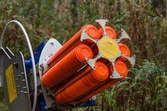 Las trampas trabajan a máquina para el entrenamiento de la tiroteo-tierra Fotos de archivo libres de regalías