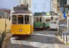 Las tranvías de Lisboa, Portugal Imágenes de archivo libres de regalías